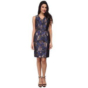 Tahari ASL Blue Metallic Jacquard Krissy Dress 8